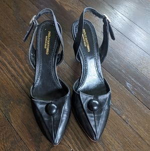 Paolo Shoes- Art Deco black leather low heels